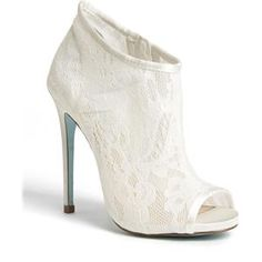 Betsey Johnson Blue Bridal peep-toe bootie in lace! Ankle Boots, Heeled Boots, Bootie Boots, Shoe Boots, Dress Boots, Stilettos, High Heels, Pumps, Sexy Heels