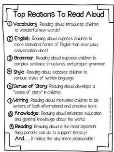 Top Reasons To Read Aloud handout perfect for your back to school folders! Parent Resources, Reading Resources, Reading Strategies, Reading Activities, Reading Skills, Teaching Reading, Guided Reading, Reading Comprehension, Reading Aloud