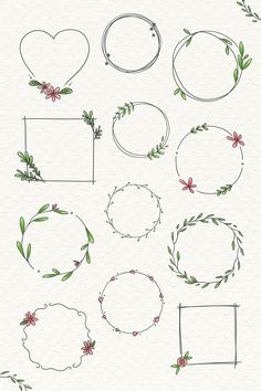 Xmas illustration by Rudolph Hirsch with blank paper for your text Realistic Flower Drawing, Simple Flower Drawing, Bullet Journal Art, Bullet Journal Ideas Pages, Bullet Journal Frames, Doodle Frames, Doodle Art, Banners, Square Wreath