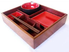 Our gorgeous Suteki is a 'bento' style box that presents a complete sushi set of glazed ceramic plates for a stunning and exceptional presentation; it creates an exclusive 'asian style' dining experience for your guests or may be shared as a quite unique and stylish gift idea. Suteki is ent... #Food, #Sushi, #Wood