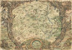 Traditionally made map of the Shire, inspired by Tolkien saga Lord of The Rings (Watercolour and Ink on Paper).