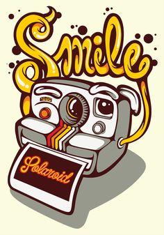 """ilustración realizada para camisetas cubica Inspirada en las famosas cámaras instantáneas """"polaroid """""""