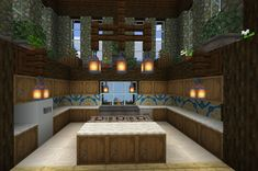Kitchen design with glazed terracotta back splash and lantern pendants. Potted p… - Minecraft Minecraft Kitchen Ideas, Modern Minecraft Houses, Minecraft Mansion, Minecraft Houses Blueprints, Minecraft Room, Minecraft Plans, Minecraft House Designs, Minecraft Crafts, Minecraft Furniture