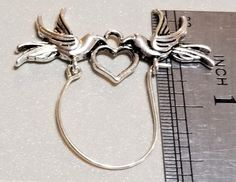 C-112; A Silver Colored Charm Holder to Display Your Favorite Charms and Dangles It Features Two Sweet Birds and a Heart First Flat, Lace Heart, Cute Birds, Upcycled Crafts, Red Lace, Craft Items, Gold Accents, Antique Silver, Your Favorite