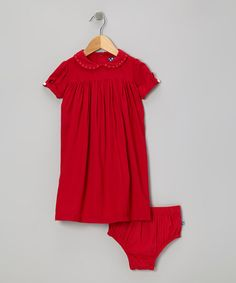 Take a look at this Crimson Dress & Diaper Cover - Toddler & Girls by KicKee Pants on #zulily today!