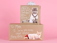 Creative: Eleven Simple Ways To Gift Wrap  (Know a cat lover? A cat lady christmas wrap, via Design Blossom)