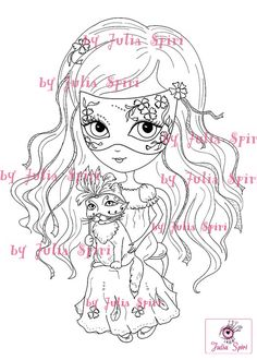 Digital Stamps, Digi stamp, Coloring pages, Girl stamp, Venice stamp, Mask stamp, Cat, Fantasy. The Venice Collection. The Venetian Girl