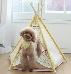 Yellow dog house pet house teepee tent indian tent cat by goodhapy, $70.00