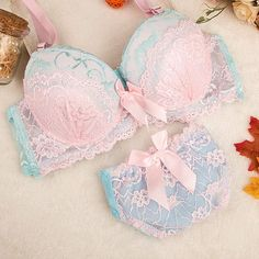 2016 new Intimates Double Layer Lace Bra Set Lingerie Push up Sexy Bra Lovely Underwear gathering Bra Briefs Embroidery Pretty Bras, Cute Bras, Pretty Lingerie, Beautiful Lingerie, Lingerie Set, Sexy Bh, Bh Set, Cute Underwear, Bra And Brief Sets