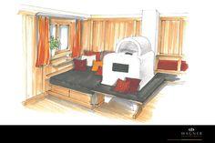 Wohnzimmer: Kamin mit Liegefläche im ländlichen Stil Outdoor Furniture, Outdoor Decor, Modern, Entryway, Home Decor, Living Room Fireplace, Neuschwanstein Castle, Living Dining Rooms, Log Home