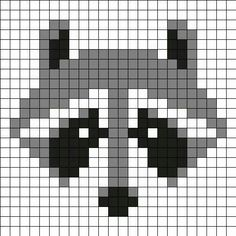 Mapache by Urcujiro on Kandi Patterns Kandi Patterns, Perler Patterns, Beading Patterns, Knitting Charts, Knitting Stitches, Knitting Patterns, Needlepoint Stitches, Cross Stitching, Cross Stitch Embroidery