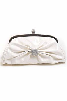 Ivory Patent Leather Clutch With Stone Clasp