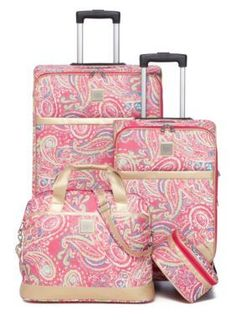 New Directions Busy Pink Paisley Jet Set Spinner 4-Piece Pink Paisley Luggage Set