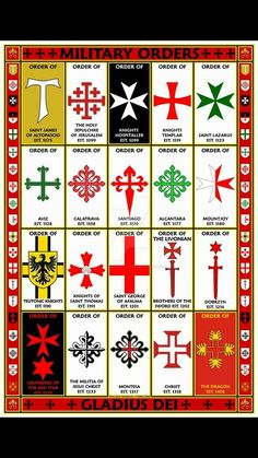 Military Orders Symbols Poster featuring the symbols used by many of the Military Orders. The symbols are arranged from earliest to latest of the date of their Medieval Knight, Medieval Armor, Medieval Fantasy, Saint Lazarus, Rose Croix, Knights Hospitaller, Crusader Knight, Military Orders, Armadura Medieval