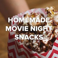 Movie Night Snacks — chocolate popcorn, homemade pretzels, homemade ice cream bites