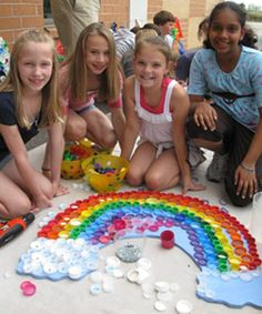 Repurpose/Recycle....Art/mosaics for kids using plastic bottle caps. Lots of great projects.