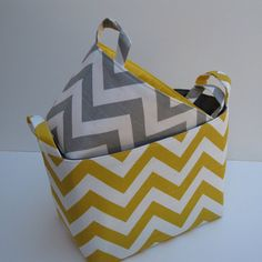 Fabric Organizer Storage Container Bins - Ash Gray/White and Corn Yellow/ White Chevron - Set of 2 - Nesting