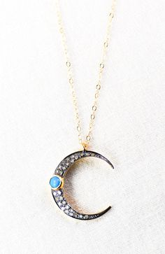 Alaka'i necklace gold diamond and turquoise crescent necklace by kealohajewelry https://www.etsy.com/listing/182338027 http://instagram.com/kealohajewelry