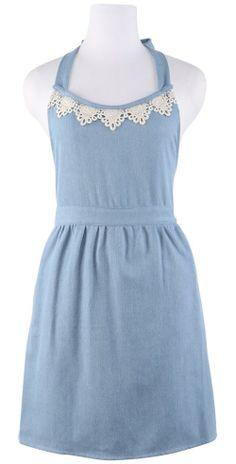 Sky Blue Denim Hostess Apron with Lace