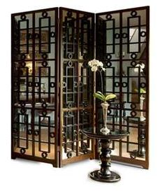 Panel Mirrored Screen Divider with Mandarin Grill — Design ...