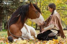 Native American girl with her horse (with sweetgrass braid around her) Senior picture. <3