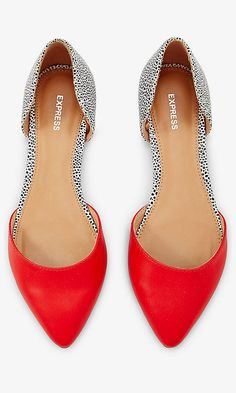 Red And Spotted D'orsay Flat | Express Love - been wanting both D'Orsays and some red in my show wardrobe