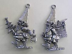 Gnome Ornaments Set of 2 Happy Gnomes by pewterearth on Etsy, $15.00