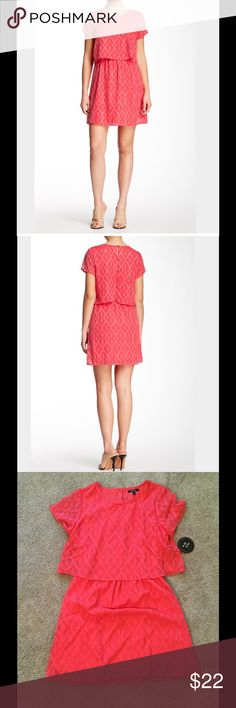 ⚡️FLASH SALE⚡️ Be Bop Coral Popover Dress Textured Chiffon makes up this popover dress with button back. Crew neck, short sleeves, back button loop closures, popover detail, textured construction, lined. About 34\