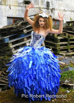 Another piece of art from todays photo shoot of a dress made from Junk I.E Plastic bottles and wire from rubbish bins I was privilaged to be the Photographer well done girls.