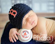 Boston Red Sox  Red Sox Hat  Brim Hat  Blue by MySweetKnittings, $27.00