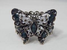Estate Smoky Topaz & Blue Multi Rhinestone Butterfly Expansion Cuff Bracelet