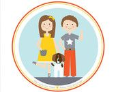 Custom Portrait, Siblings and Pet Illustration, Pet Portrait, Wall Art