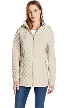 Calvin Klein Women's Quilted Jacket with Hood, Buff, X-Small ❤ Calvin Klein Women's Outerwear