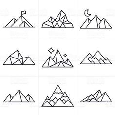 Mountain and line drawing symbol and icon collection. Vector Art : Mountain Symbols and Icons<br> Mountain and line drawing symbol and icon collection. Geometric Symbols, Geometric Lines, Geometric Nature, Geometric Animal, Geometric Drawing, Geometric Tattoos, New Tattoos, Tatoos, Xoil Tattoos