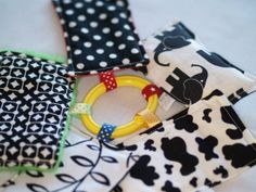 Fabric Baby Sensory Cards. Great black and white patterns for young little eyes and visual development, sensory and tactile