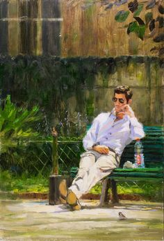 Park lunch | oil on panel painting by Richard van Mensvoort