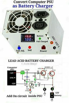 PC power supply make over to battery charger. Electronic Circuit Design, Electronic Engineering, Electrical Engineering, Electrical Wiring, Lead Acid Battery Charger, Battery Charger Circuit, Electronics Components, Electronics Projects, Power Supply Circuit