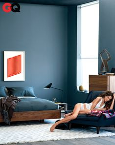 Farrow & Ball's cobalt-tinged Down Pipe No. 26. Read More http://www.gq.com/how-to/rest-of-your-life/201303/best-mens-bedroom-interior-design#ixzz2RyvauEQU