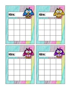 This is a set of owl reward charts.