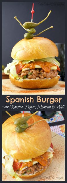 "A burger with Spanish flavors starting by a chorizo style meat pattie of paprika, parsley and garlic topped by a typical roasted pepper and a nutty homemade romesco sauce and aioli to give this burger an ""Olé"" touch! #spanish #burger #bbq"