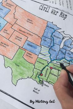 This Civil War map activity will help students understand what the United States looked like at the start of the Civil War including its western territories, where significant battles occurred, and which states were Union, Confederate, or Borders states. It's also a great way to incorporate geography into your unit. Students will label, color, and draw on the map and then answer a few questions. Great for your 6th, 7th, 8th, 9th, 10th, and 11th grade homeschool and classroom students! $