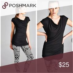 ESSENTIAL Black Top Essential Black top, wear to work out, casual or dressy very versatile.  Material is Rayon and spandex Size Available M, L, and XL Boutique  Tops Blouses