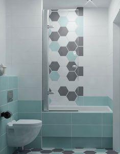 Rendkívül kellemes színkombináció díszíti ezt a kis fürdőszobát lágy kékkel és szürkével, rendkívül dekoratív és divatos a hatszögletű csempe használata is.