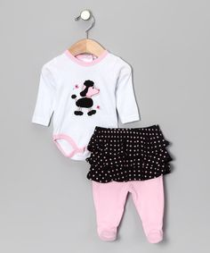 Pink Poodle Bodysuit & Skirted Footie Pants by Rumble Tumble on #zulily