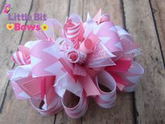 Pink and White Chevron Print Boutique Funky Bow by LittleBitBows, $11.99