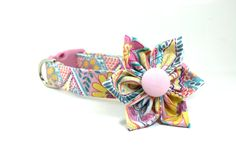 Pastel Paisley Dog Collar and Removable Flower Set / Made to Order - pinned by pin4etsy.com