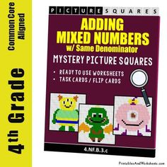 Grade Adding Mixed Numbers With Same Denominator Mystery Pictures Coloring Worksheets 4th Grade Fractions, 4th Grade Math Worksheets, Coloring Worksheets, Word Problems, Task Cards, Coloring Sheets, Fun Activities, Mystery, Numbers