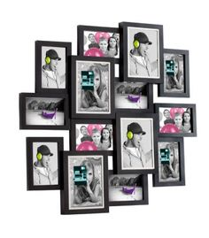 Marco de pared para 14 fotos de diferentes tamaños, 10 fotos de 10 x 10 cm y 4 fotos de 13 x 18 cm enmarcadas por un perfil plateado. #recuerdos #miscalo