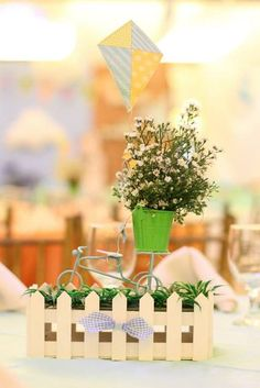 Cute centerpieces at a Kite birthday party!  See more party ideas at CatchMyParty.com!