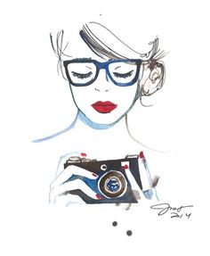 Nerdy Camera Girl, print from original watercolor and pen fashion illustration by Jessica Durrant